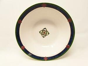 "Amalfi Classic by Pfaltzgraff 9"" Vegetable Bowl Navy Burgundy Dark Green Design"