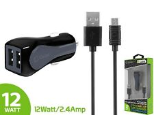 12 Watt 2.4 Amp Dual USB Car Charger w/ Micro USB Cable for Samsung Galaxy S7