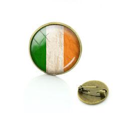 Ireland Tricolour Irish Flag Cabochon Jacket Clothing Brooch Pin Badge Gift Bag