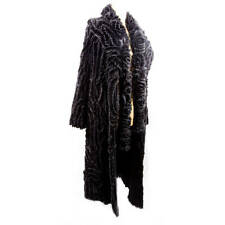 Exquisite Long Black Mink Fur and Silk Ribbon Coat and matching Scarf