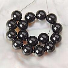 5 inch Black ONYX Beads Strand 8 mm Smooth Round Gemstone Brazil 55 ct
