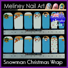 Snowman Christmas Full Cover Nail art Wraps Stickers Winter Santa Candy Cane