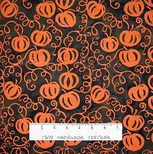 Bali Batik Fabric - Fall Pumpkin on Brown- Princess Mirah Quilt Cotton YARD