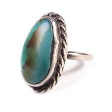 Vintage Navajo Argento Sterling, Ovale Turchese Misura Anello 6.50 3 Grammi