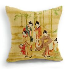 Retro Style Five Japanese Women Home Decorative Pillow Case Cushion Cover 18''
