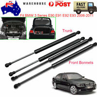 For BMW 3 Series E90-93 2006-2011 Rear Trunk+Front Bonnet Gas Struts TailgatesX4