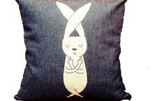 "Rabbit animal print dark navy 18""x18"" linen blend decorative pillow cover square"