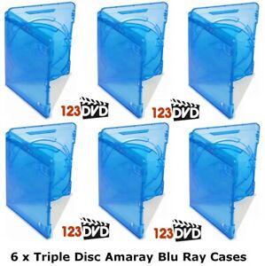6 x Blu Ray Case 15mm Spine (Triple Disc) - Genuine AMARAY *FAST UK DISPATCH*
