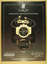 1996 Hublot MDM Chronograph gold watch black dial photo vintage print Ad
