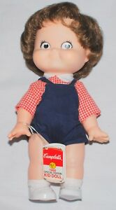 Vtg Campbell's Kid Doll NWT 80s Red White Gingham Shirt Overalls 10 Brown Hair