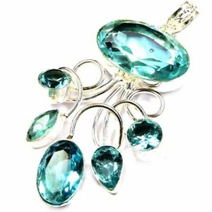 """85.88Cts New Year Special Blue Topaz Silver Overlay Handmade Pendant 2.75"""""""
