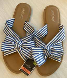 NWT Women's West Loop Slip On Blue White Striped Bow Sandals Size 7/8 Shoes