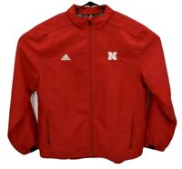 Adidas Nebraska Huskers Full Zip Jacket Sz Large Red Warmup Track Vented 6985A
