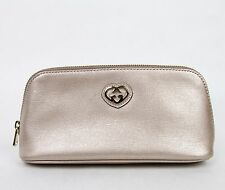 New Gucci Light Pink Leather Cosmetic Bag w/Interlocking G S2 338190 5711