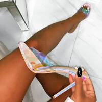 Damensandalen Peeptoe Pantoletten High Heel Stiletto Transparent Slipper Pump