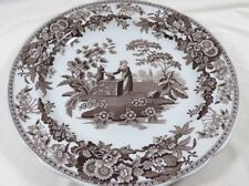 Spode Georgian Series Archive Collection Girl at Well Brown White dinner plate