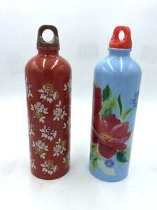 The Pioneer Woman Lot 2 Water Bottles 25oz Blue Rust Floral Twist Top