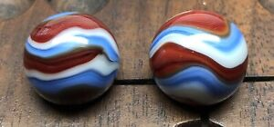 Marbles: Pair of Gorgeous Akro Agate Corkscrew Marbles!!