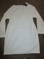UK 18 Topshop Ivory Knee Length Dress Long Sleeve Formal Party Waist Detail