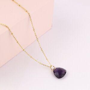 Trillion Shape Purple Amethyst Quartz Yellow Gold Plated Pendant Chain Necklace