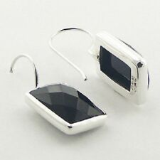 earrings 925 sterling silver Rectangular Black agate gemstone facet cut 27mm ht