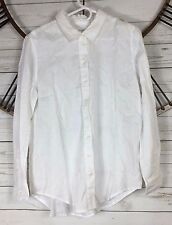 Workshop Republic Clothing Womens Size Large White Long Sleeve Linen Button Up