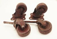 Vtg antique cast iron industrial factory cart swivel casters wheels 1 1/2""