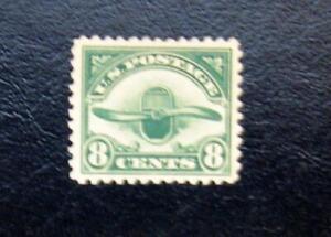 A Great Very Fine Mint Stamp Scott #C4 1923 8c Radiator & Propeller, Dark Green