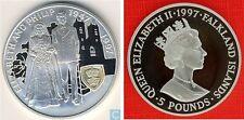 1997 Falkland Is Large Proof Silver 5 P-Elizabeth/Philip 50th Wedding Ann.
