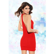 Cowl Neck T-Style cutaway Back Party Mini Dress Red