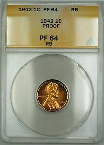 1942 Proof Lincoln Wheat Cent 1c ANACS PF-64 RB Red-Brown (Better Coin)