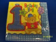 Hugs & Stitches Boy Blue First 1st Birthday Party Paper Beverage Napkins