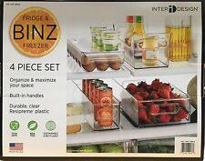 Interdesign Binz Nevera & Congelador de alimentos/bebidas Almacenamiento Caja/Bandejas/Soporte 4 Pc Set