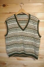 Vintage Handknitted V Neck Sweater Vest Wool Knit XL