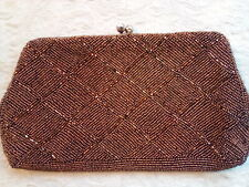 Copped Beaded Vintage Clutch Diamond Pattern Rhinestone Kisslock Satin Lining