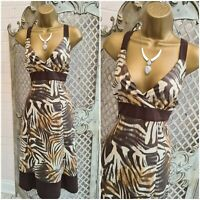 W by BHS UK 14 BNWT £38 Animal Print Fit & Flare Empire Waist Dress Summer