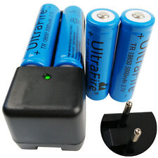 4X 18650 5000mAh 3.7V Li-ion Batterie Battery Rechargeable with 4.2V EU Charger