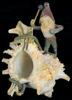 ANTIQUE NAUTICAL FOLK ART CHRISTMAS ORNAMENT SANTA ELF GNOME MINING SEA SHELL