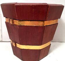 "Planter Red Wood 8"" Flower Pot Garden Patio Vtg Mid Century Redwood"