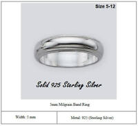 Solid 925 Sterling Silver Milgrain Band Ring Width 5mm Wedding Band Ring Comfort