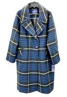 Rachel Rachel Roy Womens Plus 2X Black Blue Plaid Long Coat Jacket  NWT