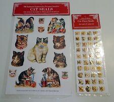2 Pkg Cat Kitten Embossed Stickers 1982 Vintage Nos Nip Merrimack Scrapbook Exc!
