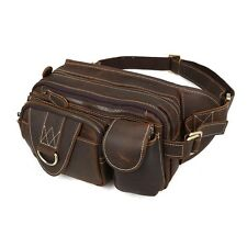 Gents Genuine  Leather Fanny Packs Waist Fashion Bum Bag Travel Sport Work Bag