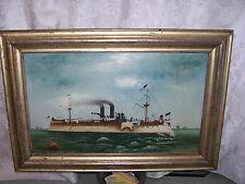"RARE  19TH BATTLE SHIP "" MAINE"" NAUTICAL MARITIME OCEAN BOAT  SIHNEDPAINTING"