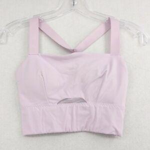 Athleta Sports Bra XS Soft Pale Pink Lilac Mesh Racerback Adjustable Strap