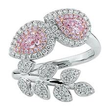 1.66Tcw Fancy Pink & Vivid White Cubic Zirconia Pretty Leaf Design Wedding Band