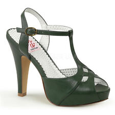 PINUP COUTURE BETTIE-23  FOREST GREEN MATTE T-STRAP RETRO VINTAGE SANDALS
