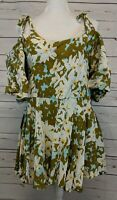 Free People One Size L Lucina Over Shoulder Floral Mini Dress Handprinted Rayon