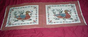 2 Duck Pillow Quilt Squares Country Colors - Vintage design Cranston Print Works