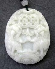 245 Cts Real White/Green Jade Two Pi-Xiu Dragons Coins Ruyi As One Wishes Amulet